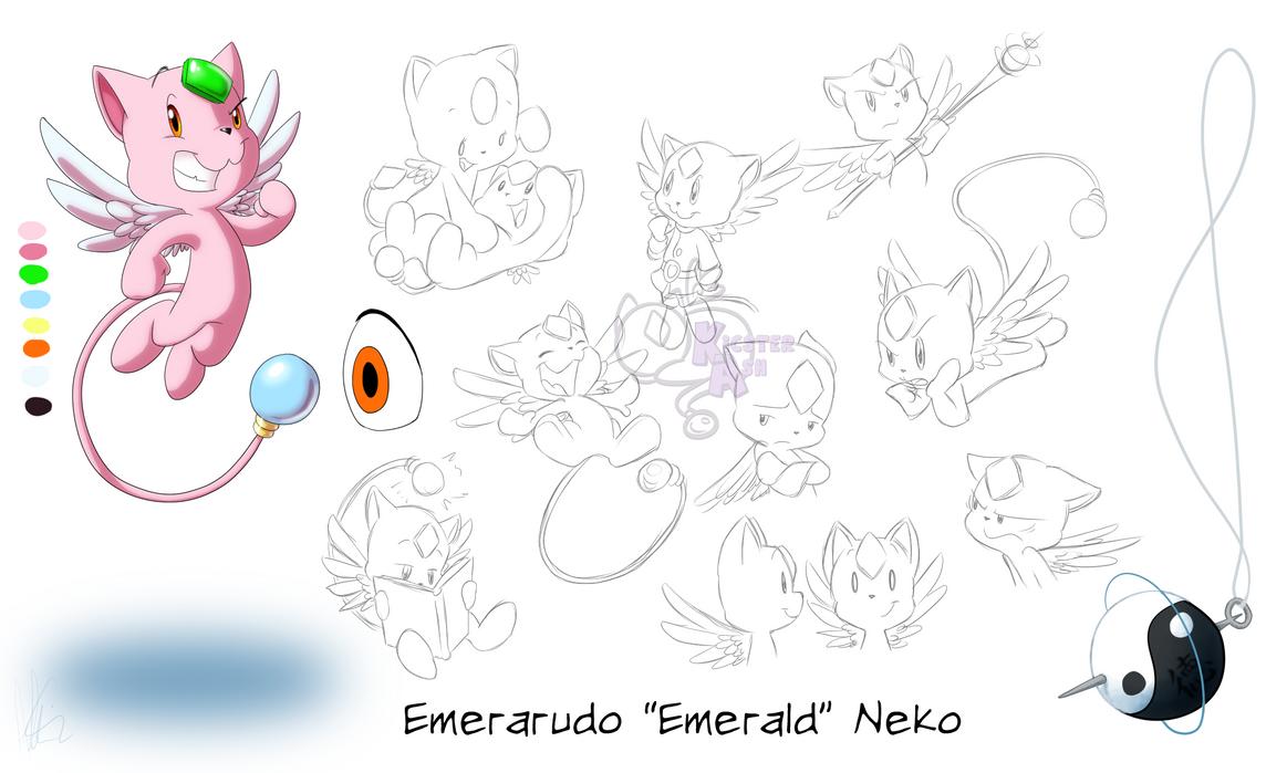 Emerald Neko Model Sheet by KicsterAsh