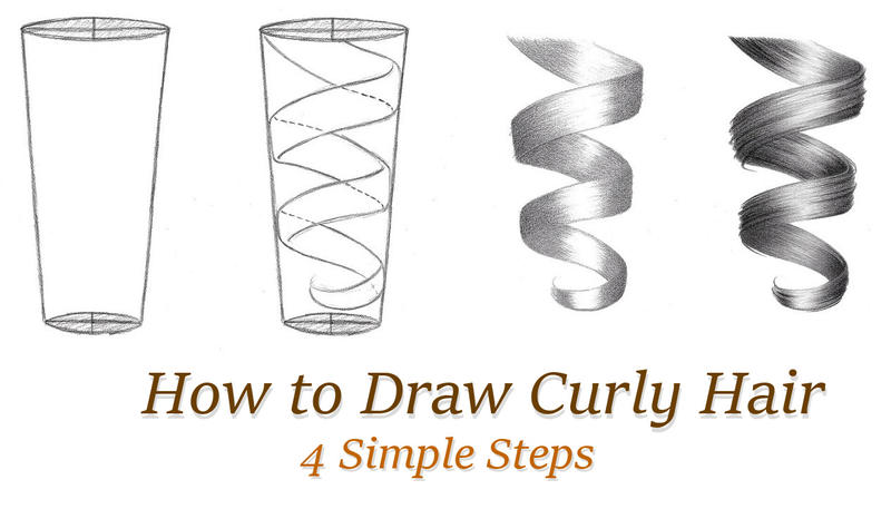How to draw curly hair simple 4 step tutorial by rapidfireart