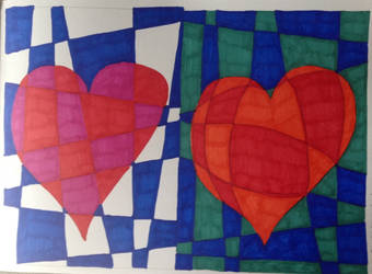 Red Heart. Blue Background. 2 Ways. by TinaLouiseBrown