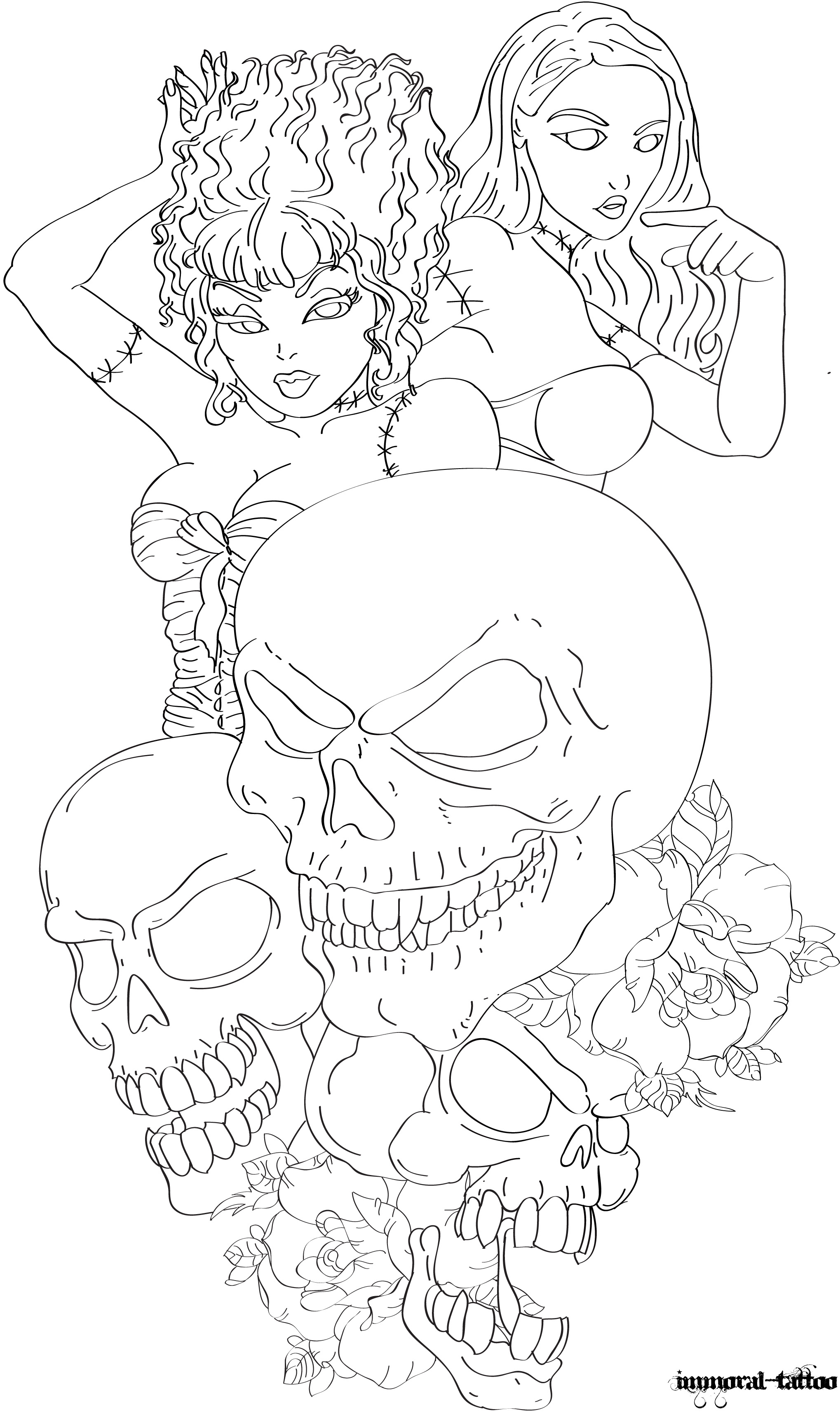 Pin up with Skulls by Immortal-Tattoo