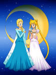 Queen Elsa and Princess Serenity by TaigaDraw