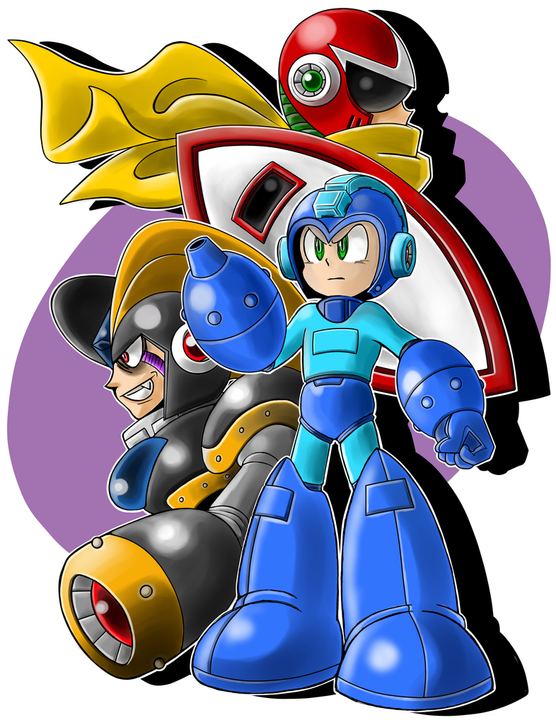 Mega Man, Proto Man, and Bass by JusteDesserts