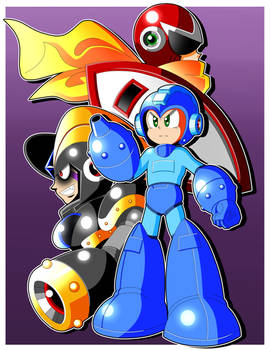 Mega Man, Proto Man, and Bass
