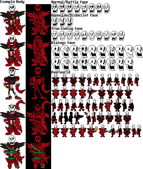 Underfell Papyrus Sprite Sheet (Update) by HerobrineTV on DeviantArt