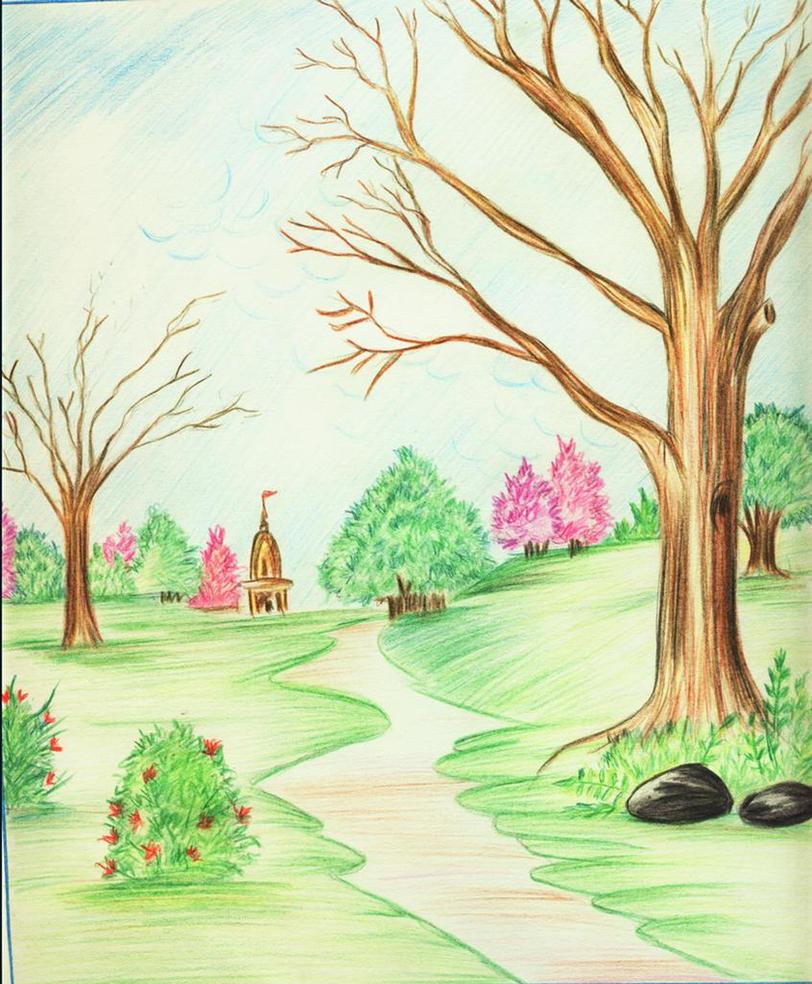pencil color scenery by shilpa84 on DeviantArt