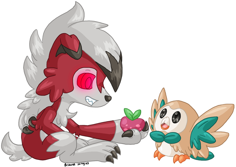 DRawn FOR ME by Higgins pfq - lycanroc and rowlet  by cupofautumnsunrays