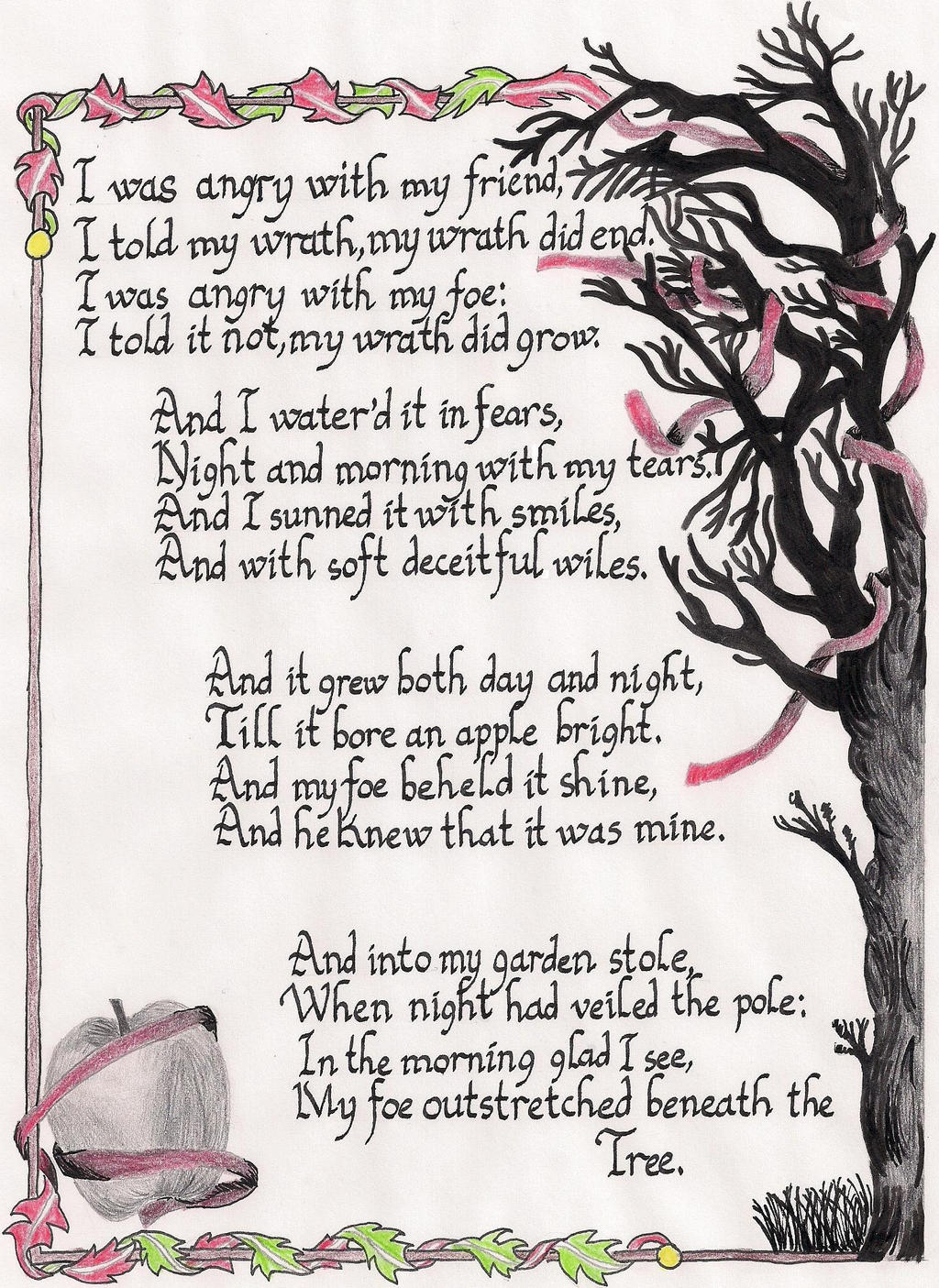 growing anger in a poison tree by william blake William blake's a poison tree: critique and appraisal  with the reader by discussing the deep feeling of a victory over an enemy if you do not forgive and forget your anger will grow like a tree until it grows into a death wish for your foe (poison apple) at the time harboring a grudge only makes things worse like he was weeping and.
