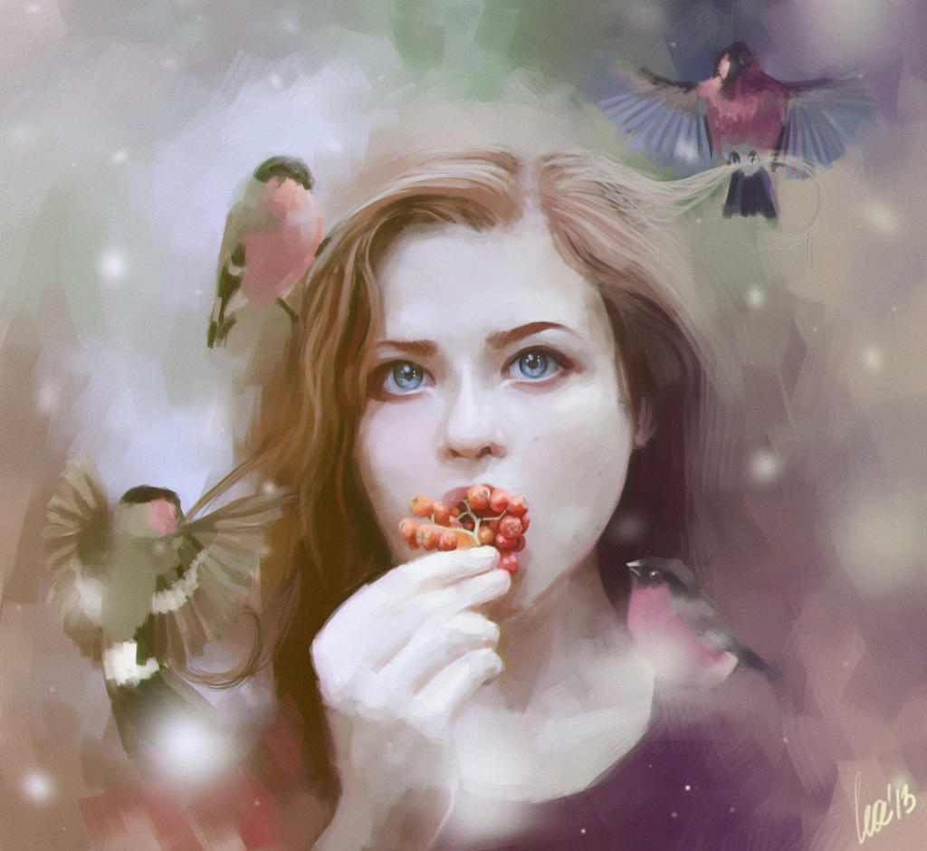 Girl with bullfinches