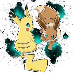 Galaxy Pikachu and Eevee