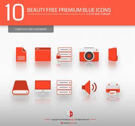 10 Beauty Free Premium Red Icons set