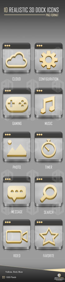10 REALISTIC 3D DOCK ICONS [YELLOW   BLUE   RED]