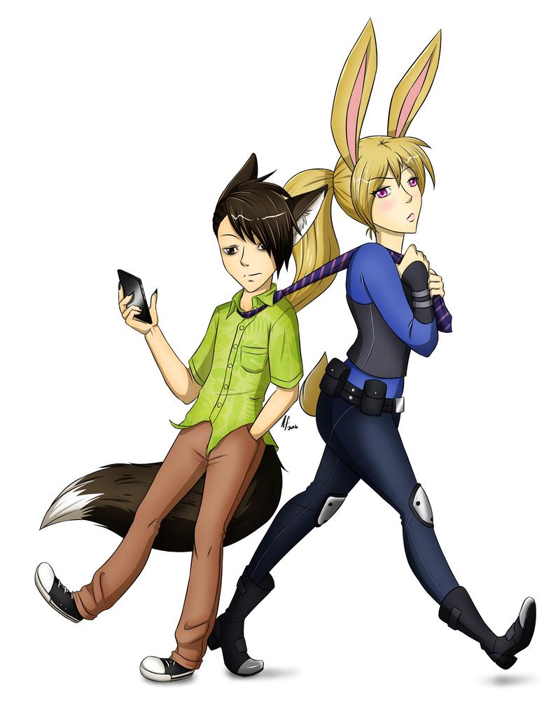 - Fox and Bunny - by ArtsyxFox