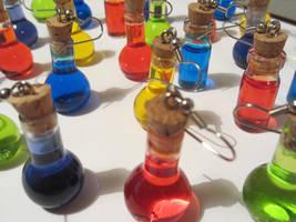 Legend of Zelda Potion Bottle Earrings by nekomatalee