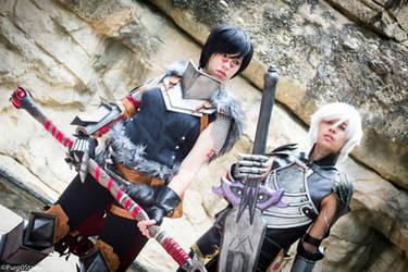 Hawke and Fenris - Dragon Age 2 by nekomatalee