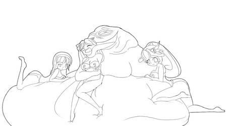 Lineart: Jabba's waifus by Kei-Waza