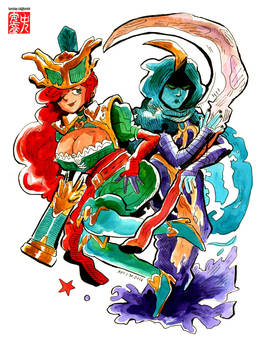 $30 commission -  Captain Miss Fortune and Reaper