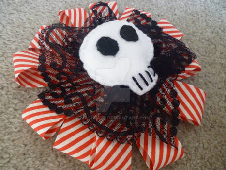 Red and White Skull Hair Piece