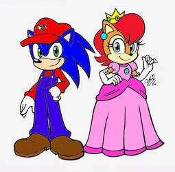 Sonally - Mario and Peach Colored by chibi-jen-hen