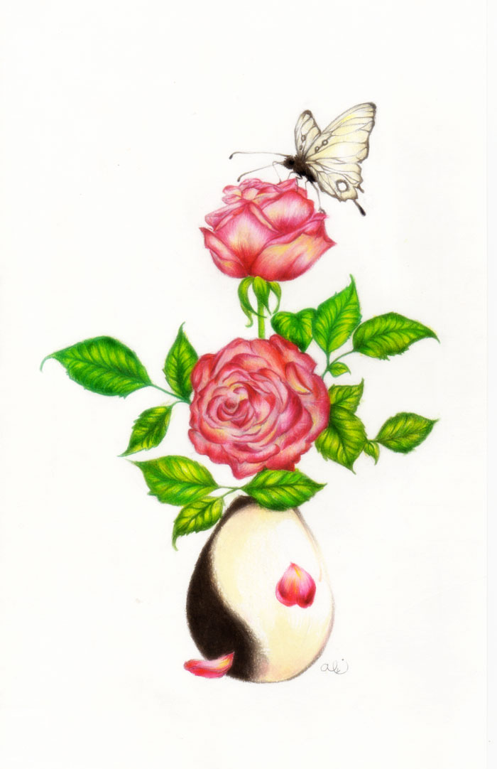Butterfly And Rose Dra...