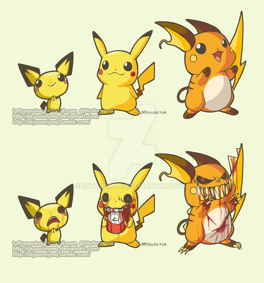 172 pichu 25 pikachu 26 raichu by skysunnymq on deviantart - Pokemon x raichu mega evolution ...