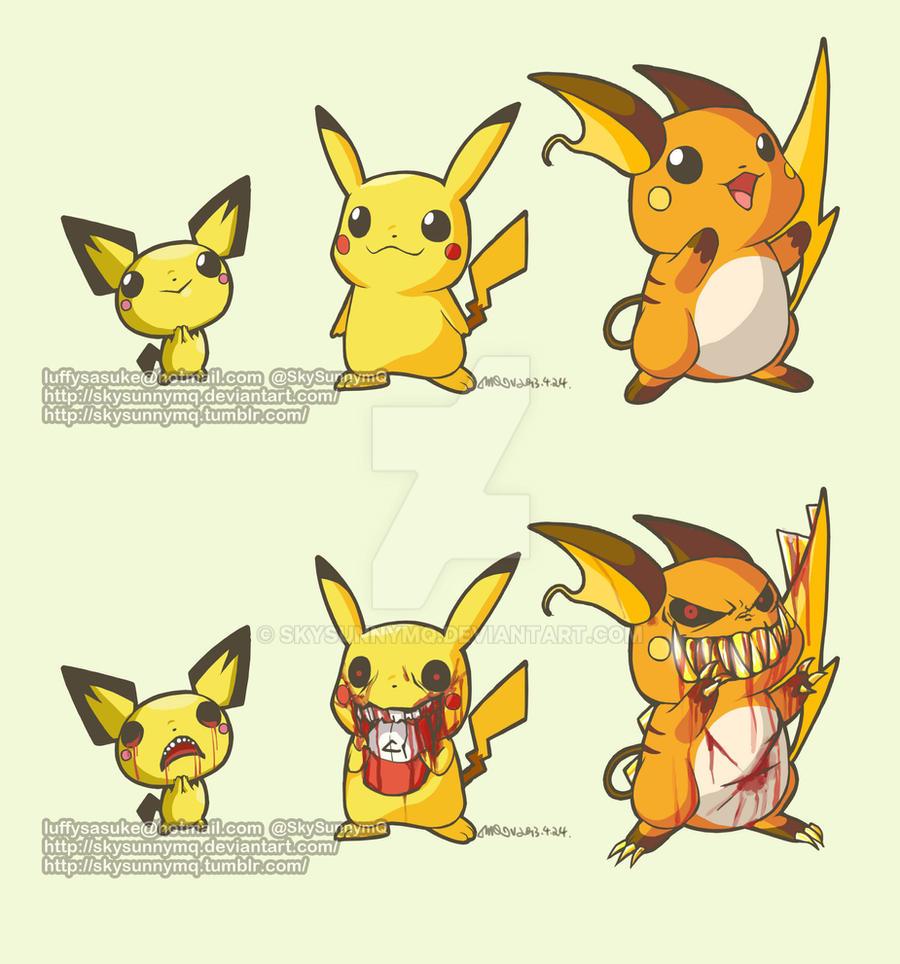172.Pichu 25.Pikachu 26.Raichu by SkySunnymQ on DeviantArtPichu Pikachu Raichu