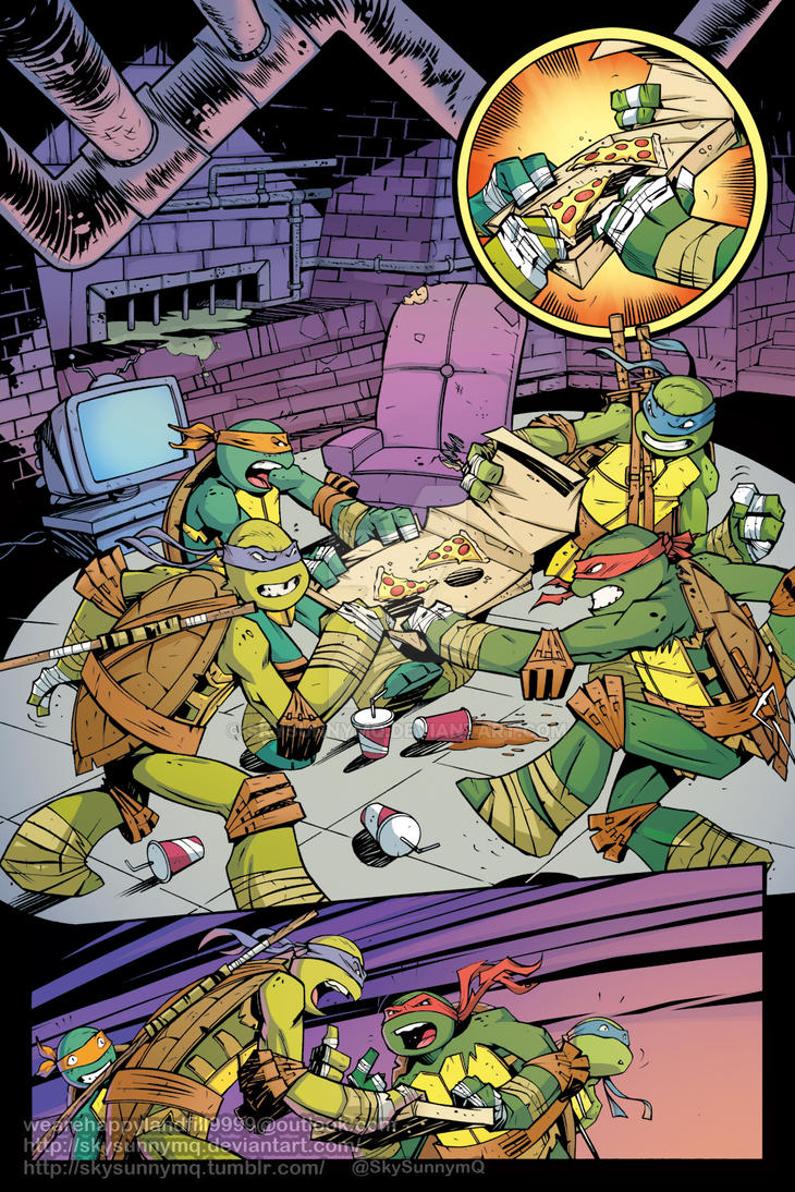 TMNT Animated #12 - PizzaPrize - page 01 color by SkySunnymQ