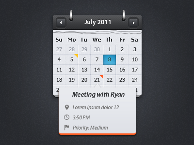 Calendar with event preview [free psd] by tommiek