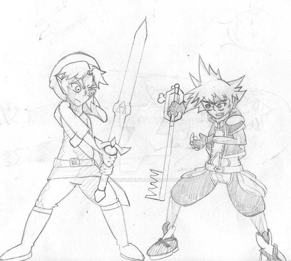 Link vs Sora sketch by FantasyRebirth96