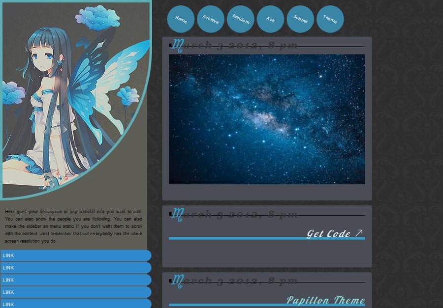 Papillon tumblr theme by LakeLady on DeviantArt