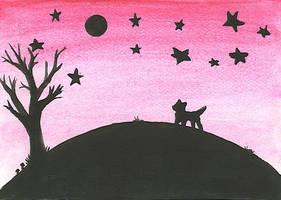 Hill+dog+stars+tree
