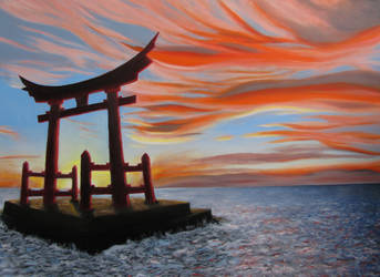 Sunset and Torii by mikesblender