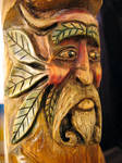 Horned Green Man Carving