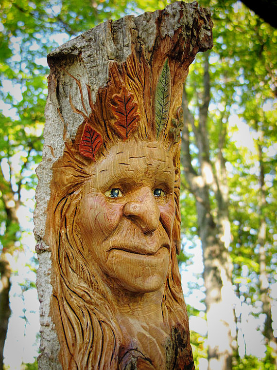 Fall female wood spirit carving by riverotterwidget on