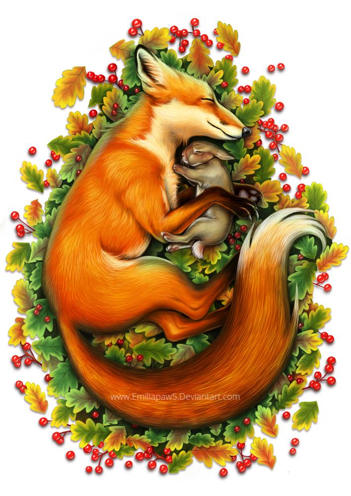 Fox and sleeping bunny by EmiliaPaw5