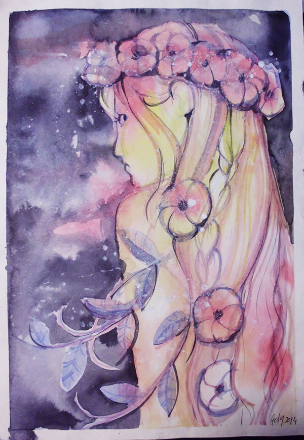 Flowers and watercolors by Yuriko-Goly