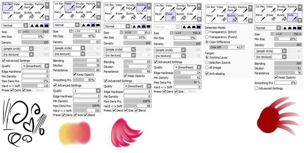 Brushes I Use (SAI) by StarshineBeast