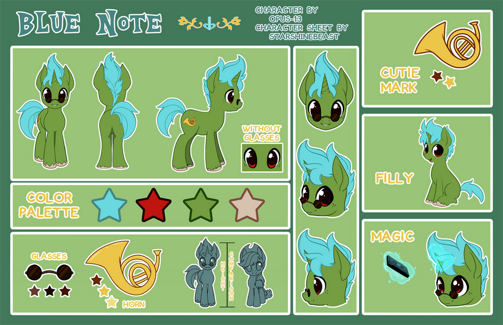 Blue Note Character Sheet (commission) by StarshineBeast