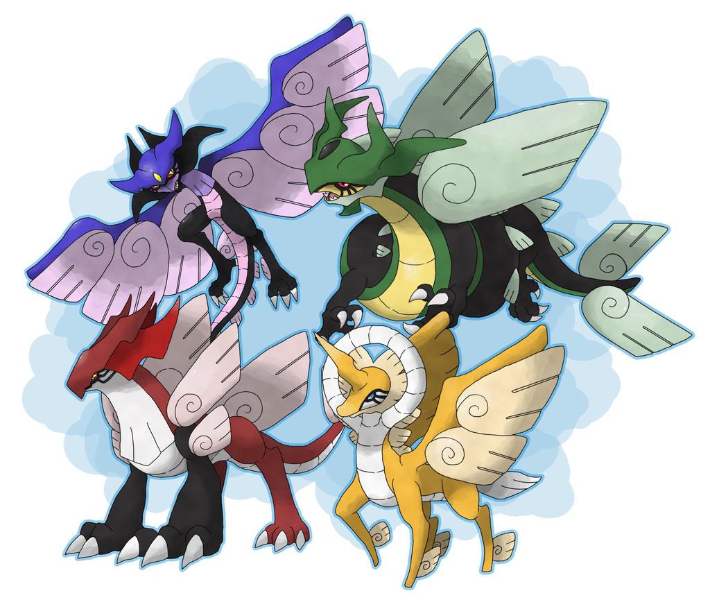 Commission - Legendary quartet by Cid-Fox on DeviantArt. (Leggende Pokemon Arceus)