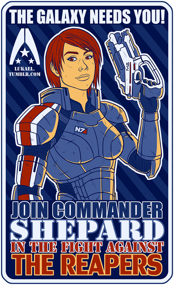COMMANDER SHEPARD NEEDS YOU by Lukael-Art