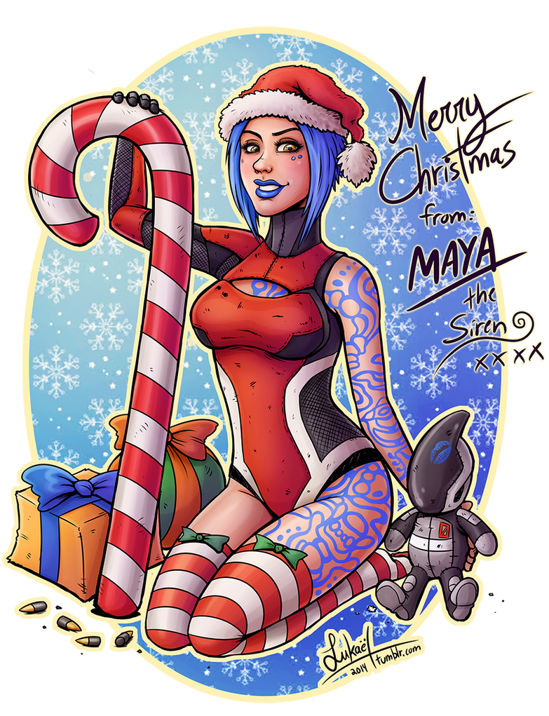 Merry Christmas from Maya the Siren by Lukael-Art