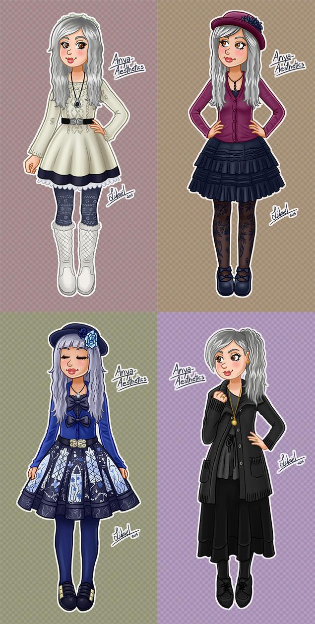 Anya Outfits Set by Lukael-Art