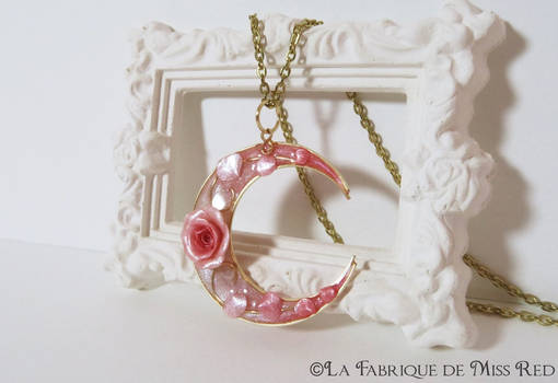 Crescent moon and rose pendant