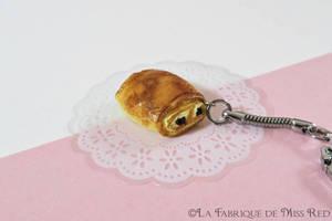 Miniature Pain au chocolat keyring by MissRedJewellery