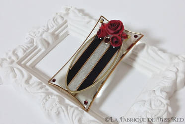 Victorian stripes and roses frame brooch by MissRedJewellery