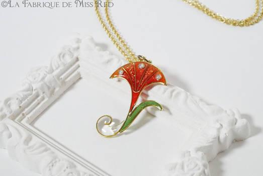 Art Nouveau orange Trumpet flower pendant
