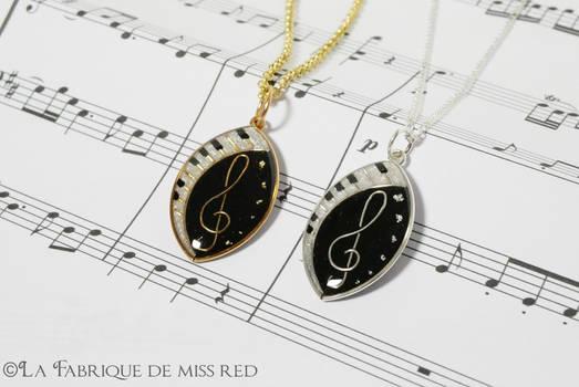 Treble clef music twin pendants