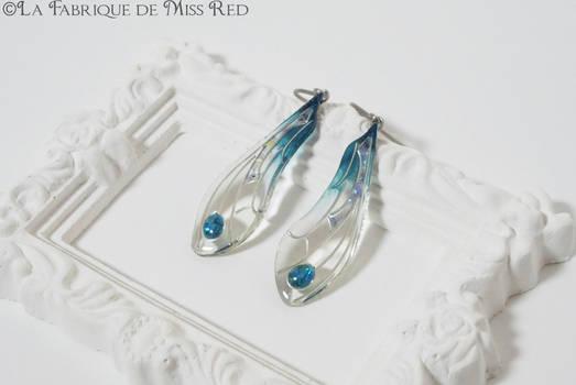Dragonfly wings earrings blue version