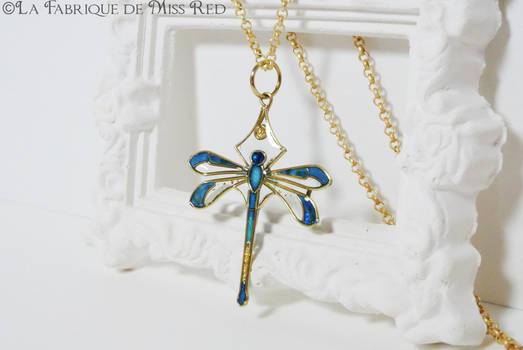 Blue dragonfly Art Deco pendant