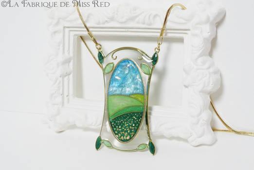 The far green countries Art Nouveau necklace