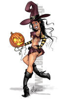 Halloween Girl Pinup Toon by Elias-Chatzoudis